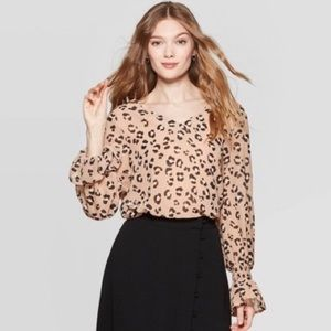 A New Day Leopard Blouse Bell Sleeves Size XS